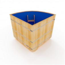 Купель угловая из кедра с пластиковой вставкой диаметр: 130 см * 130 см, высота 120 см