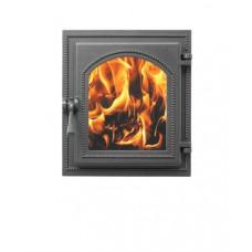 Дверца каминная Везувий 220, 400х370, со стеклом (Антрацит)