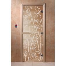 Купить Дверь стеклянная Дверь Бамбук и бабочки прозрачная в Белгороде