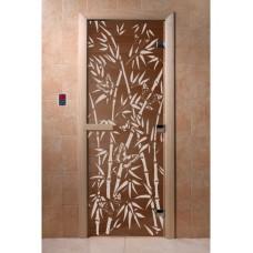 """Дверь стеклянная Дверь """"Бамбук и бабочки бронза"""""""