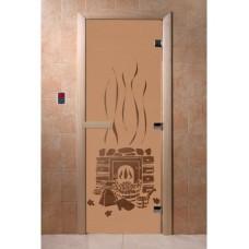 """Дверь стеклянная Дверь """"Банька бронза матовая"""""""