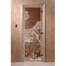"""Дверь стеклянная Дверь """"Банька в лесу бронза"""""""