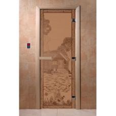"""Дверь стеклянная Дверь """"Банька в лесу бронза матовая"""""""