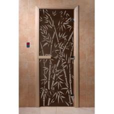 """Дверь стеклянная Дверь """"Бамбук и бабочки черный жемчуг"""""""