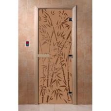 """Дверь стеклянная Дверь """"Бамбук и бабочки бронза матовая"""""""