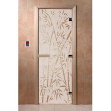 """Дверь стеклянная Дверь """"Бамбук и бабочки сатин"""""""